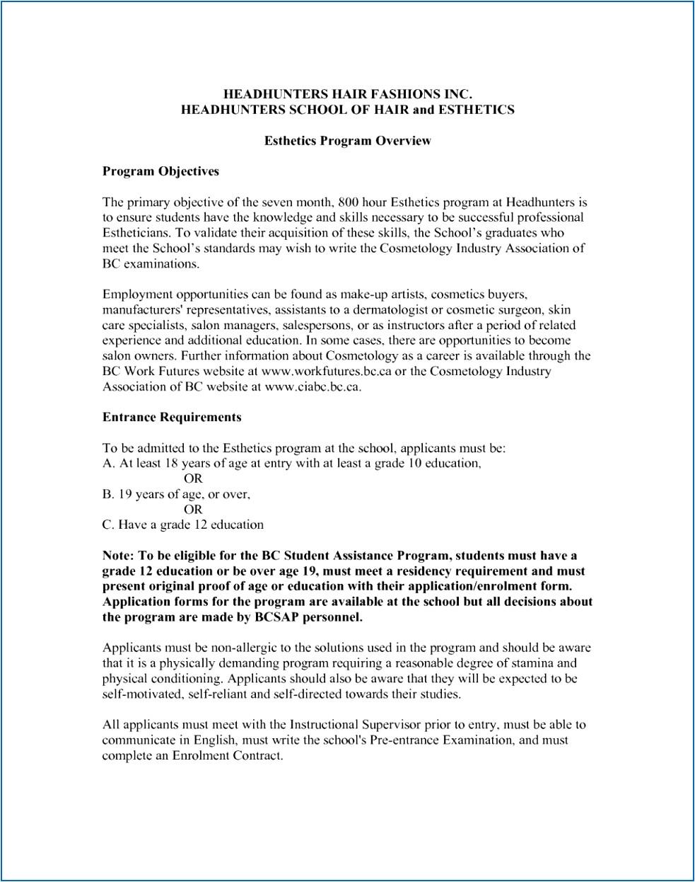 sample esthetician resume cbnla