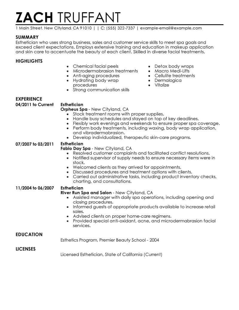 Aesthetician Resume Samples Best Esthetician Resume Example Livecareer