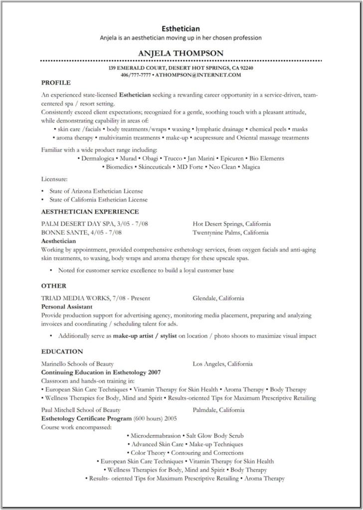 Aesthetician Resume Samples Esthetician Sample Resume Best Resume Gallery