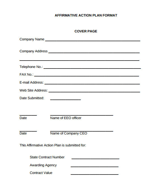 Affirmative Action Policy Template 9 Sammple Affirmative Action Plan Templates Sample