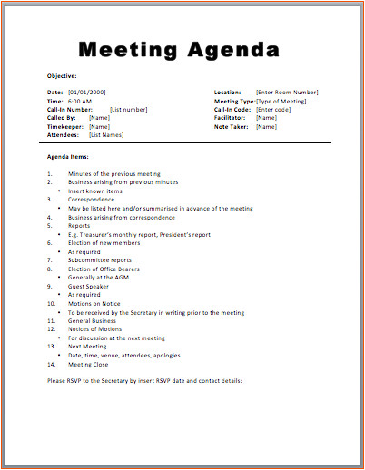 7 free meeting agenda templates