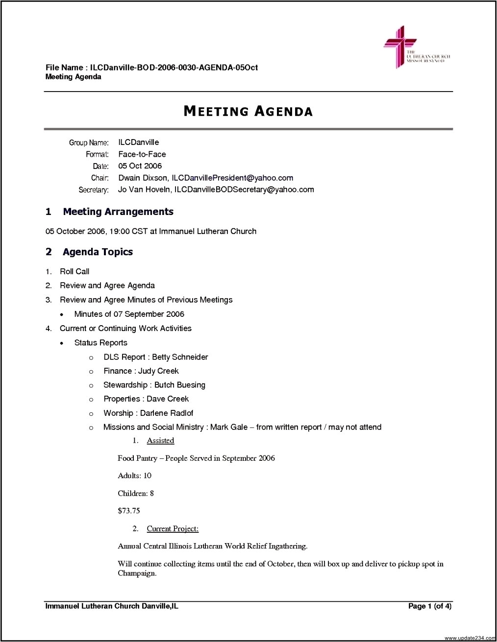 free business meeting agenda template