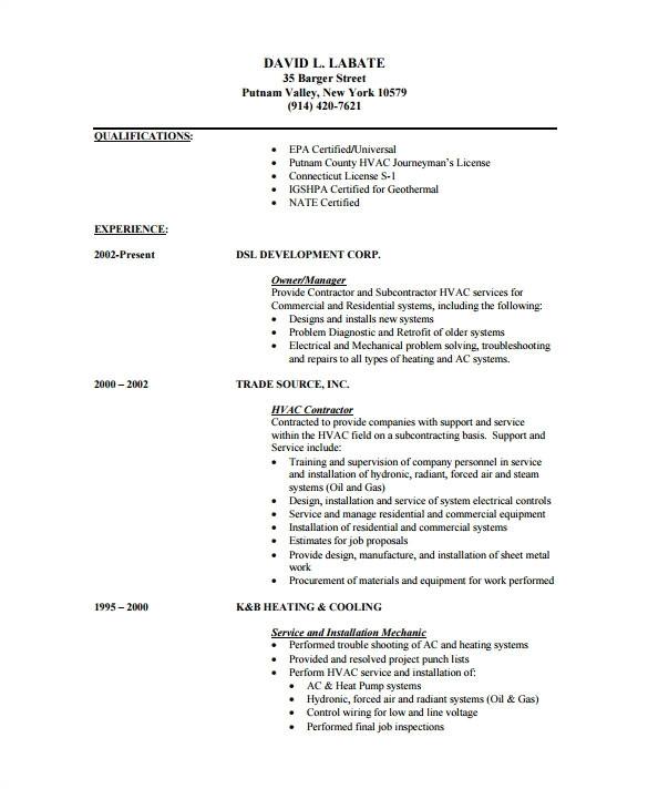 hvac resume sample