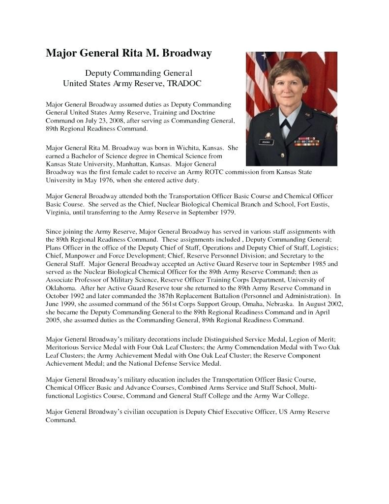 Air force Bio Template Army Bio Resume Cover Letter