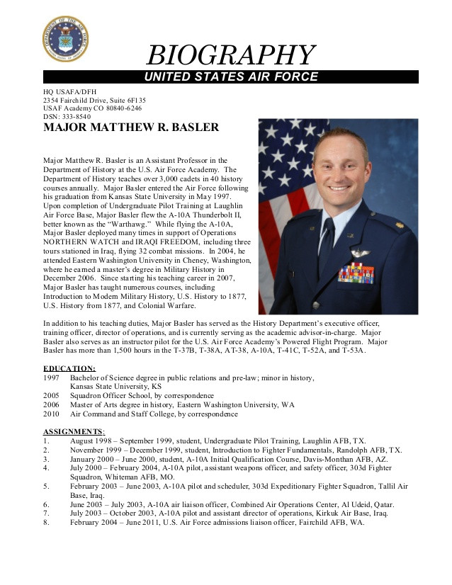 Air force Bio Template Secrets for Sample Military Bio Bio Examples