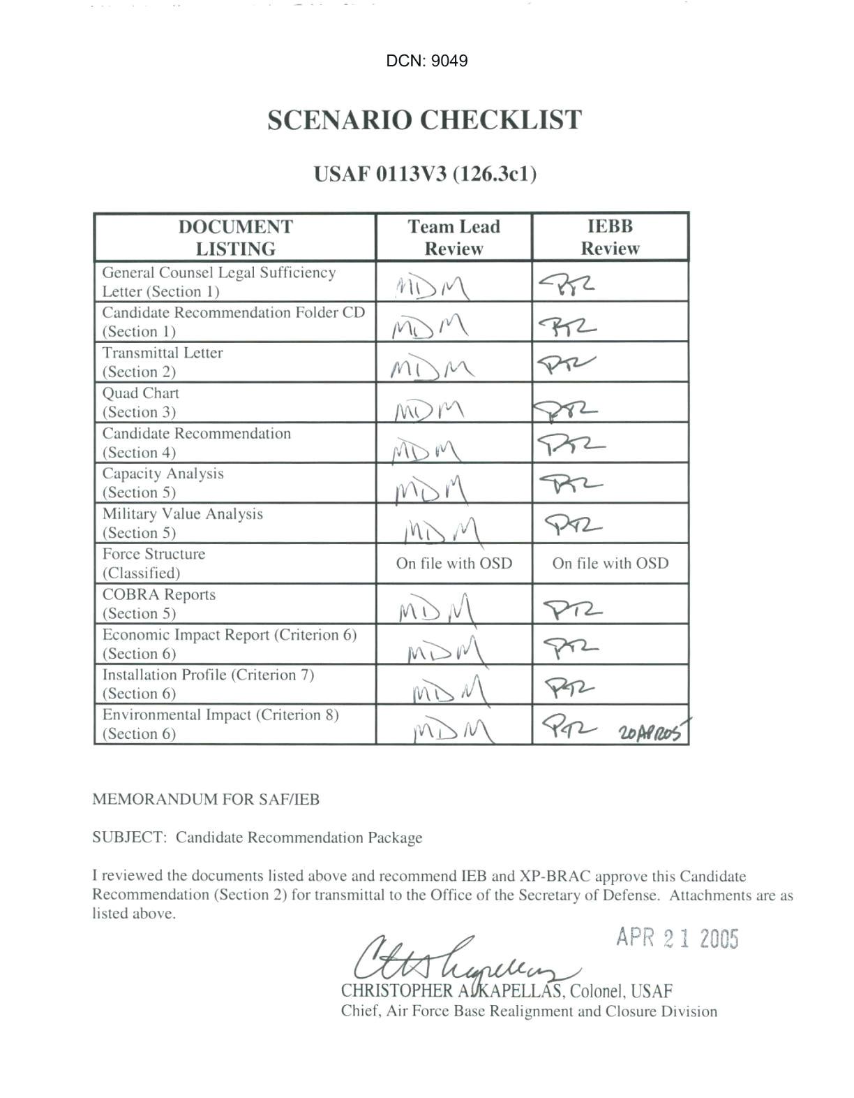 air force checklist template