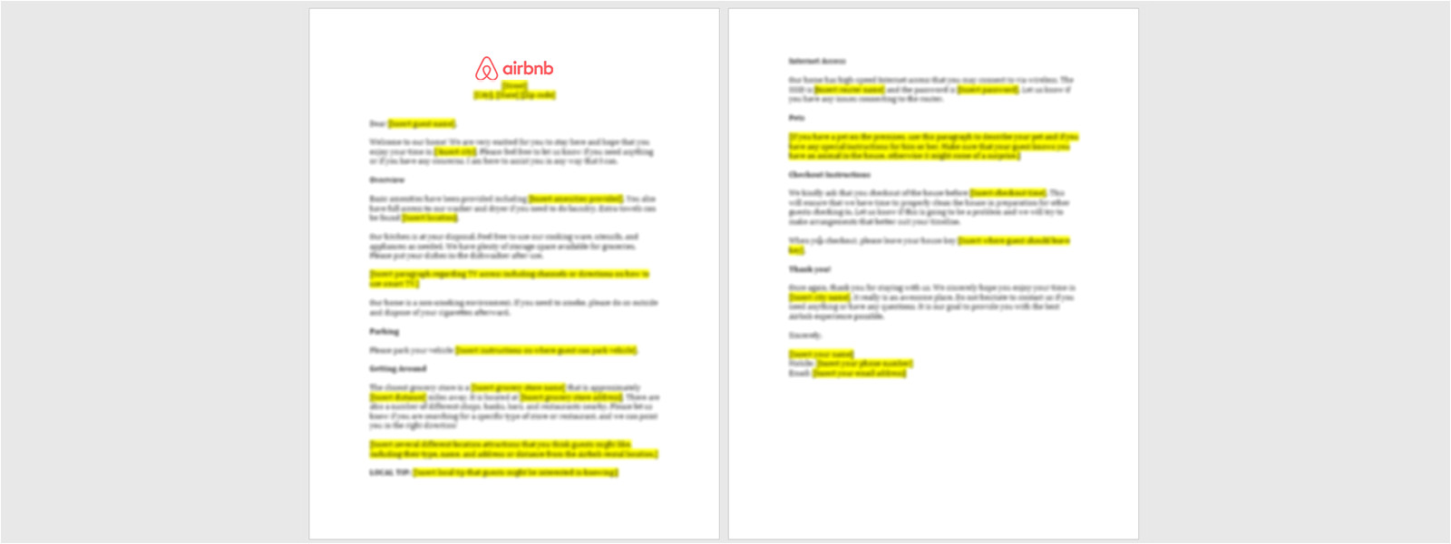 sample airbnb guest welcome sheet download