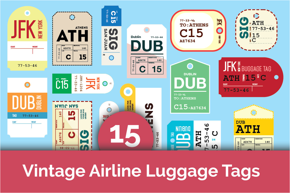 41969 15 vintage airline luggage tags