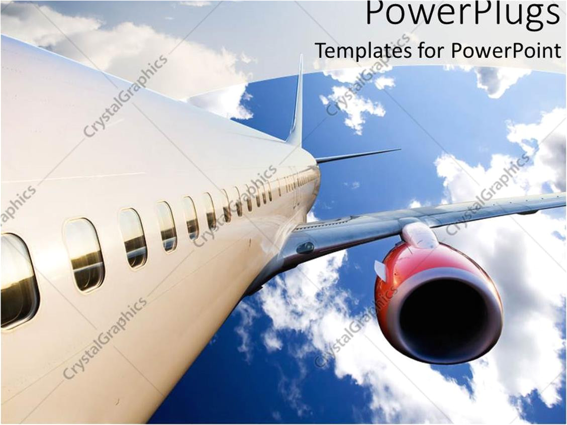 airplane with red engine flying in blue cloudy sky