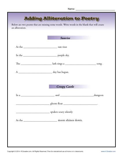 Alliteration Poem Template Adding Alliteration to Poetry 4th Grade Worksheets