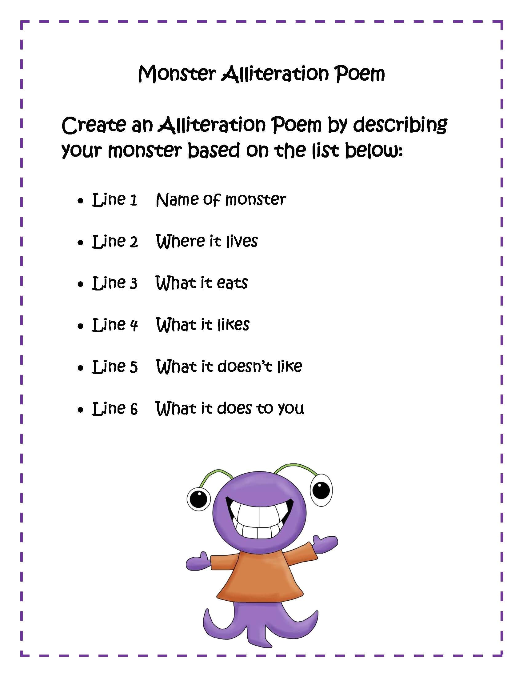 Alliteration Poem Template Alliteration Poems Kids Blends Google Search Classroom