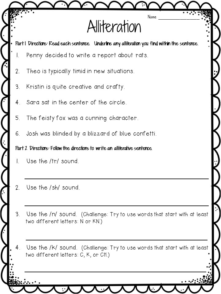 Alliteration Poem Template Crafting Connections Alliteration Anchor Chart Plus