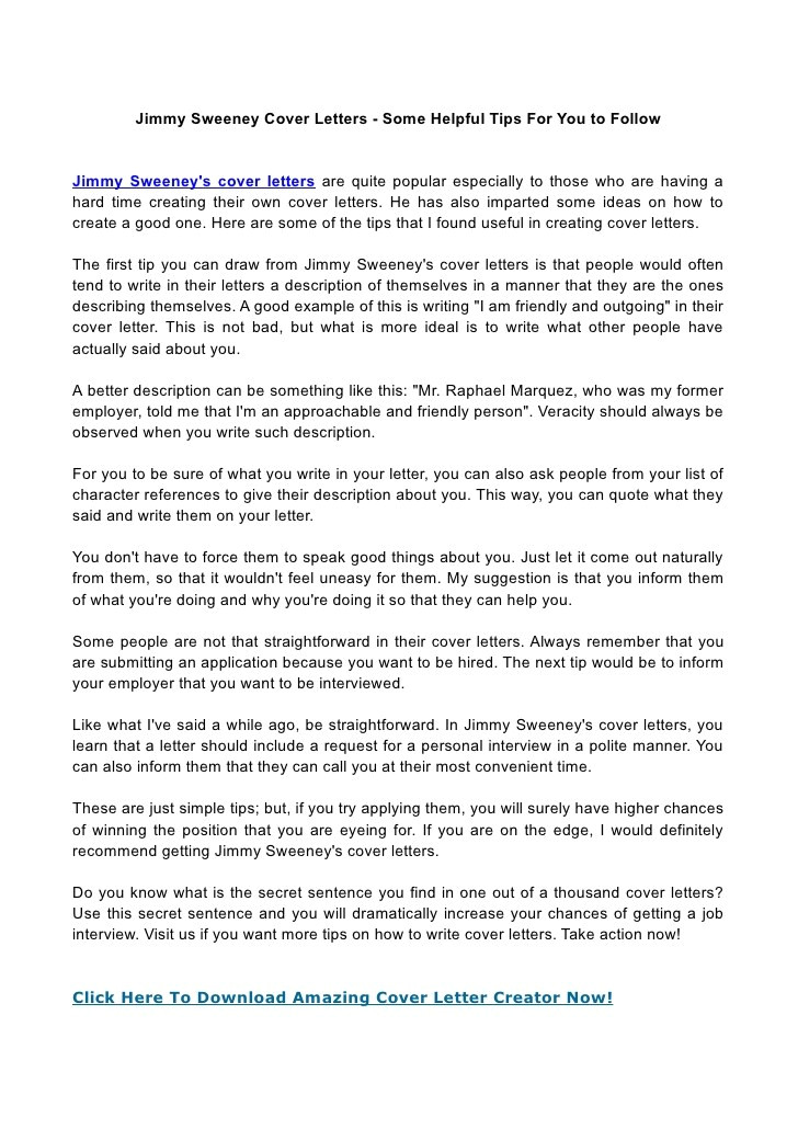 jimmy sweeney amazing cover letter creator free download