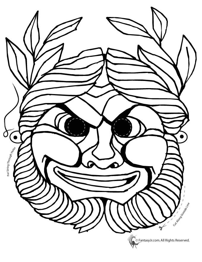 greek masks coloring 3