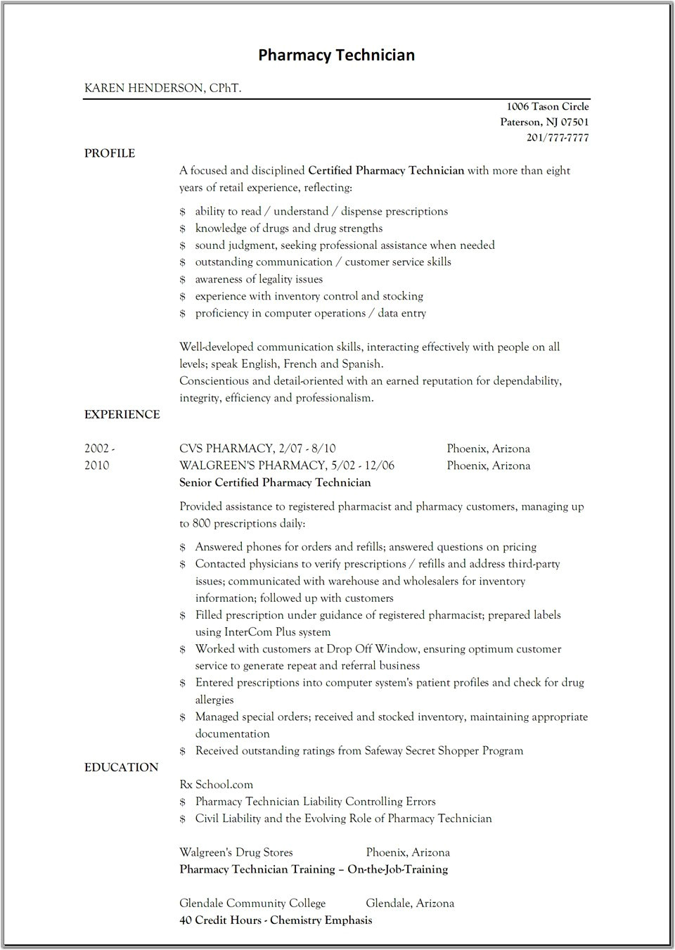 anesthesia tech resume