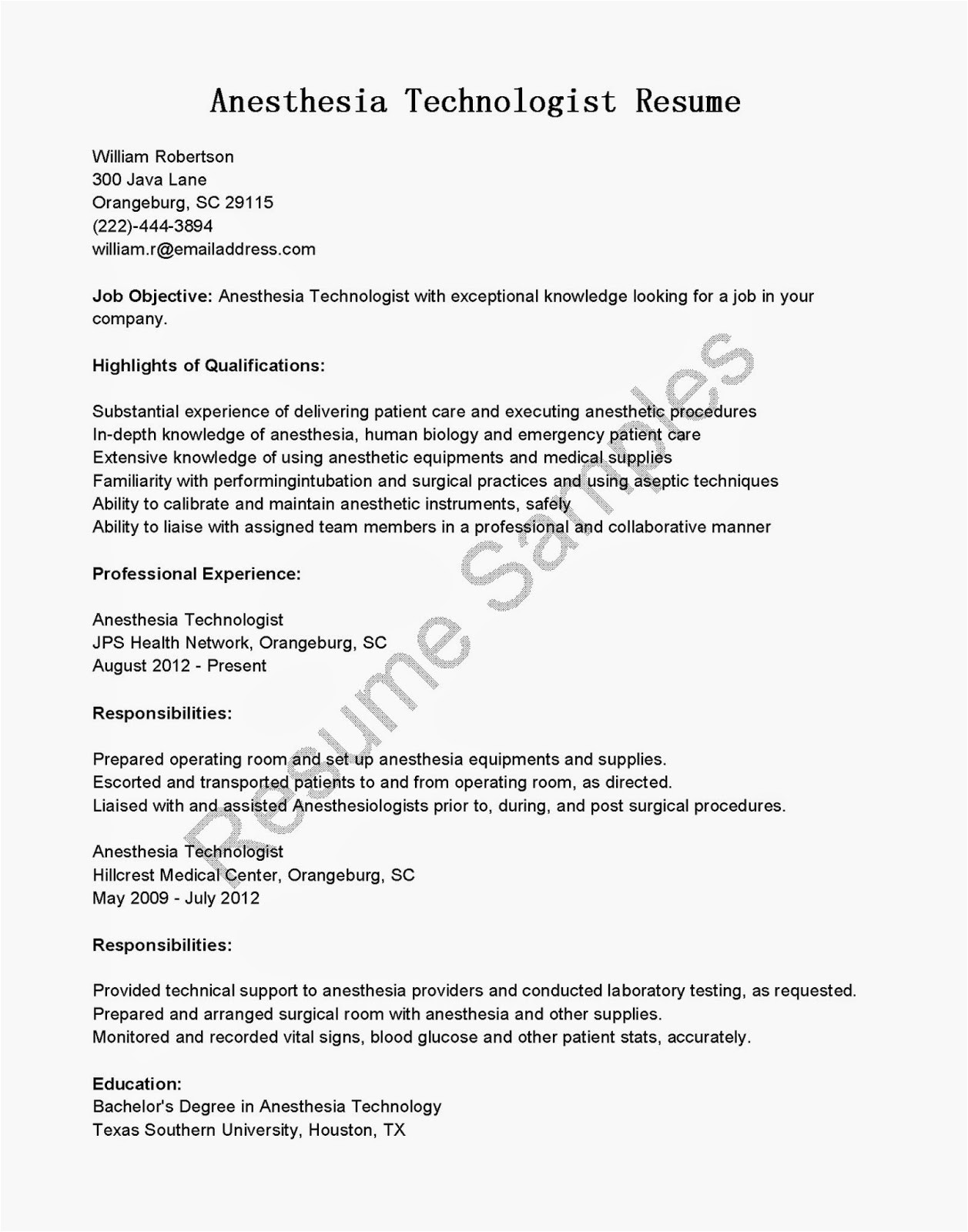 anesthesia technologist resume sample