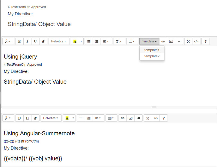summernote insert template with angular directives