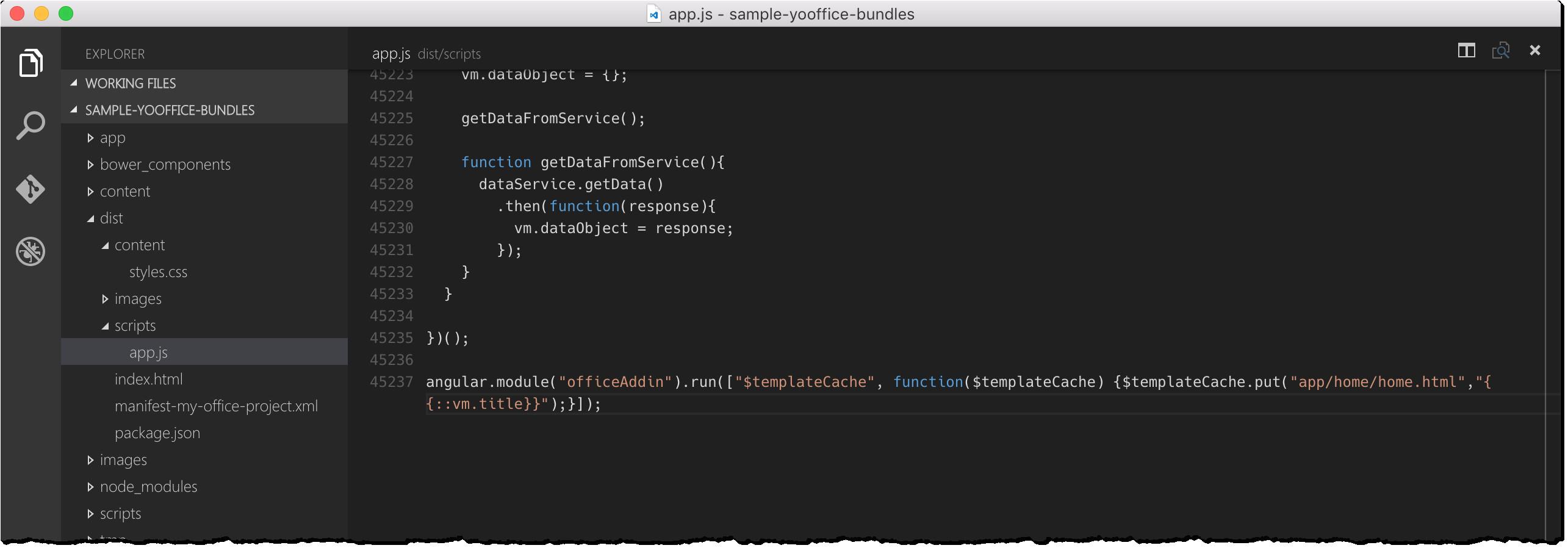 angular template script