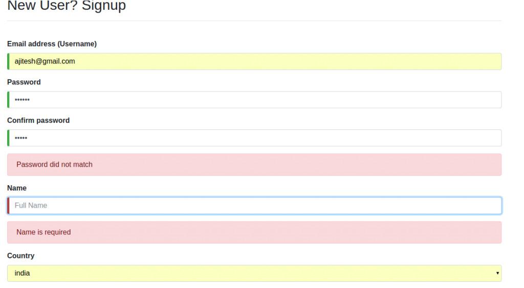 angular signup form code sample