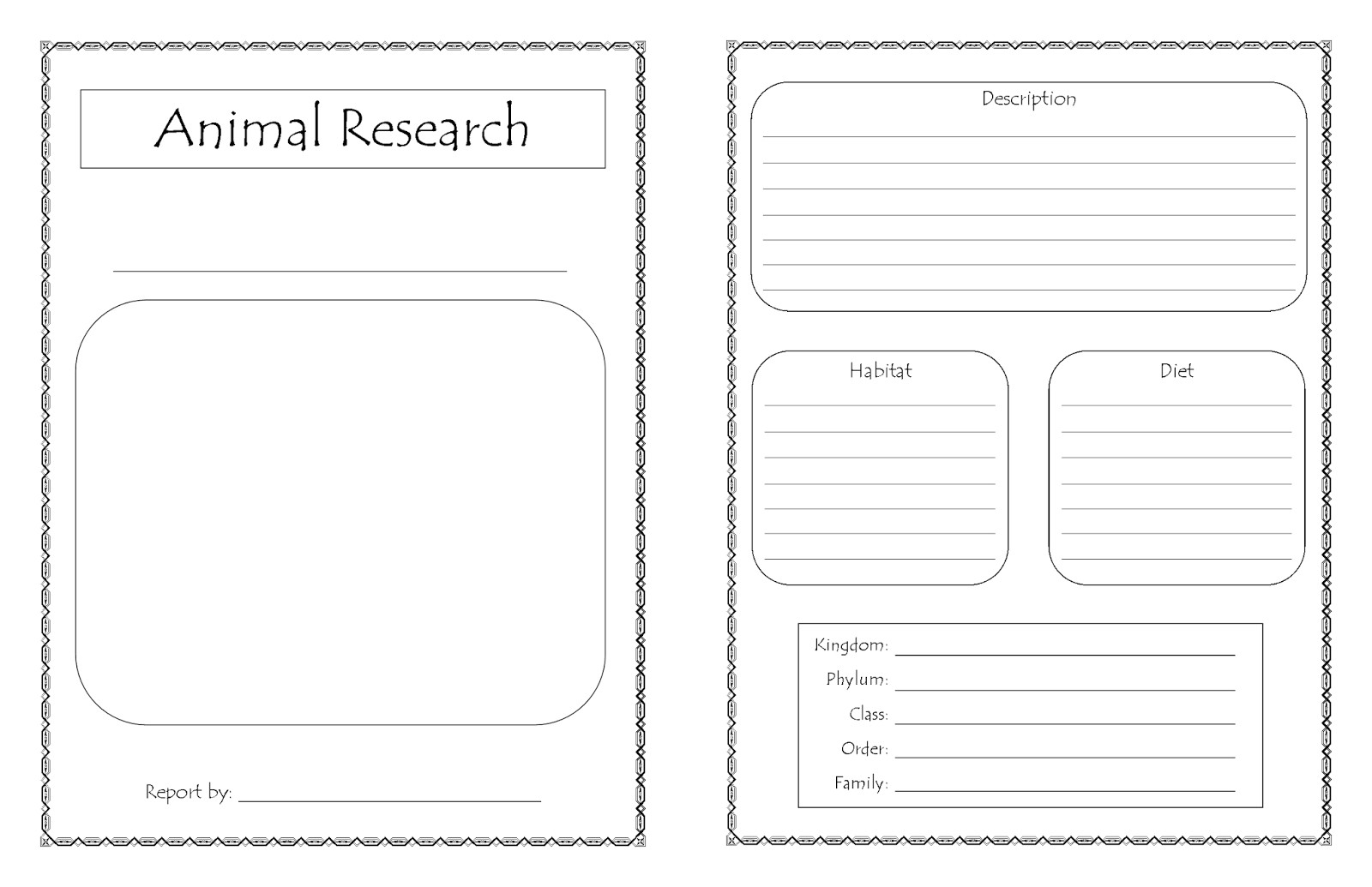 new printable animal research report
