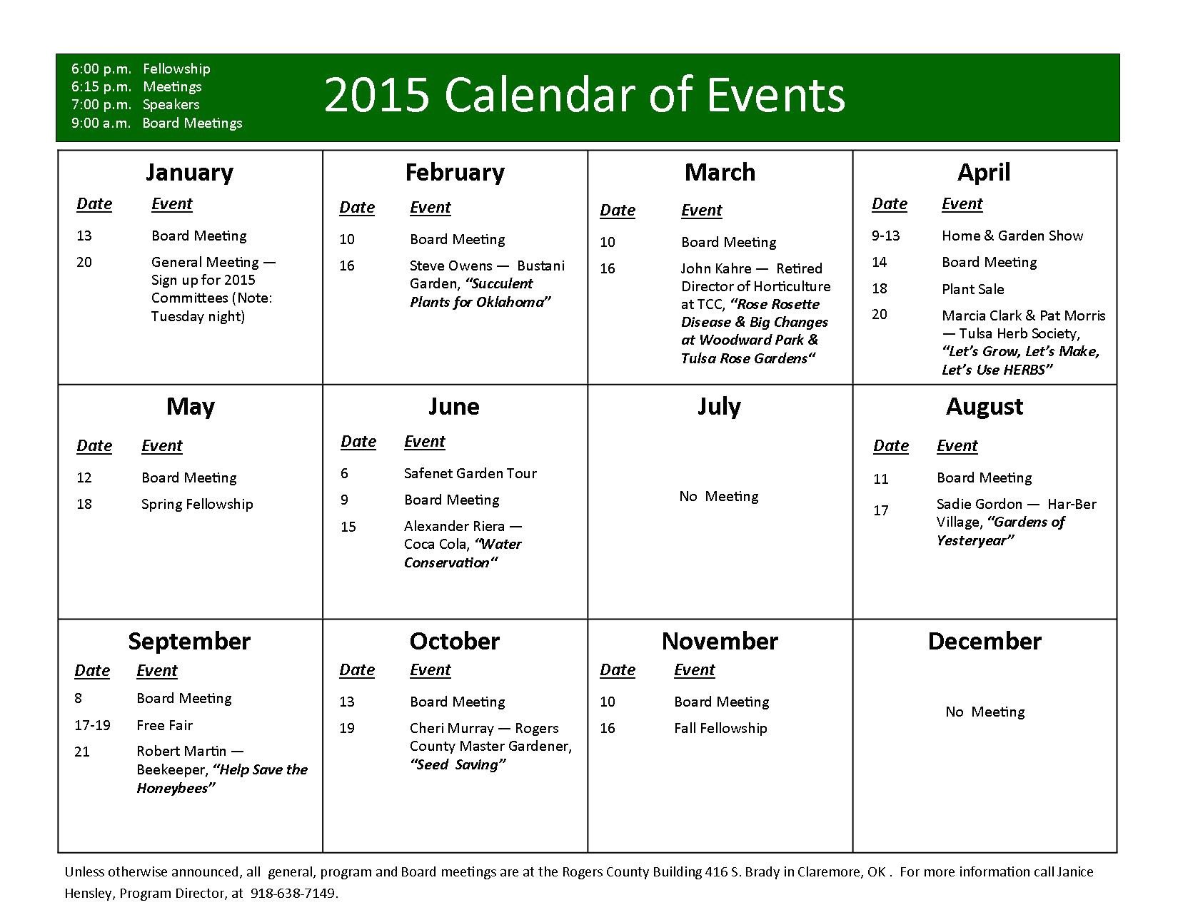 yearly events calendar 1864