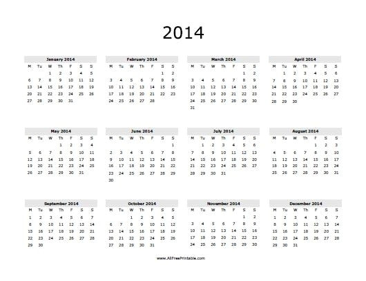 2014 printable yearly calendar
