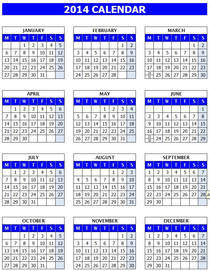 2014 yearly calendar template