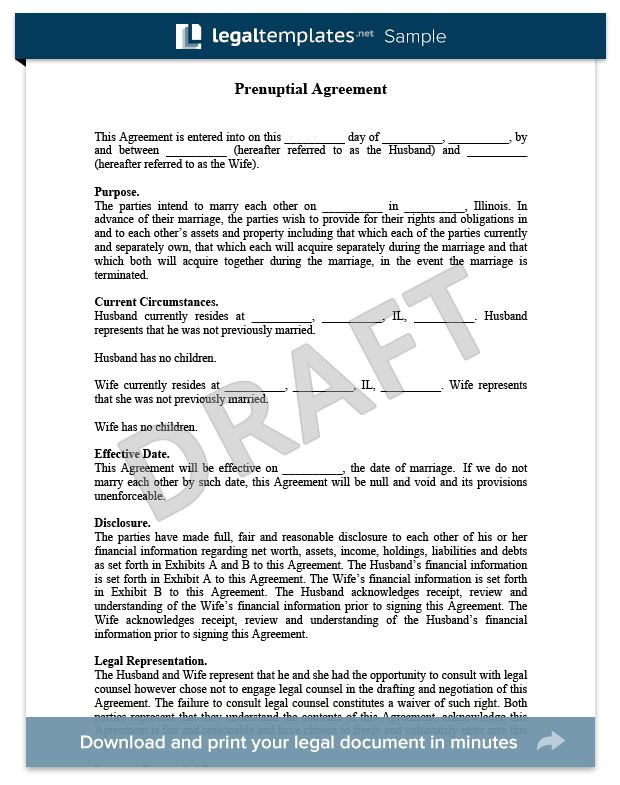 Antenuptial Contract Template Prenuptial Agreement Sample for More Information On