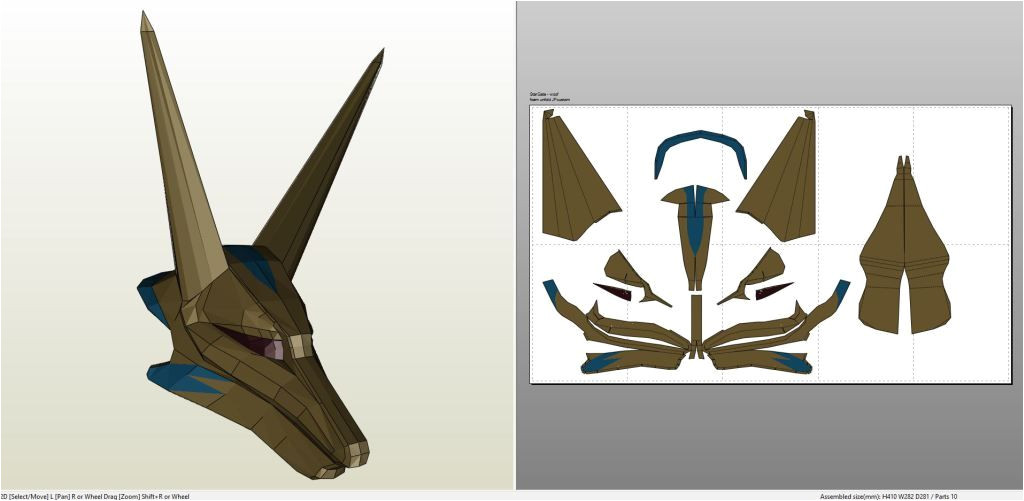 Anubis Mask Template Papercraft Pdo File Template for Stargate Anubis Goa