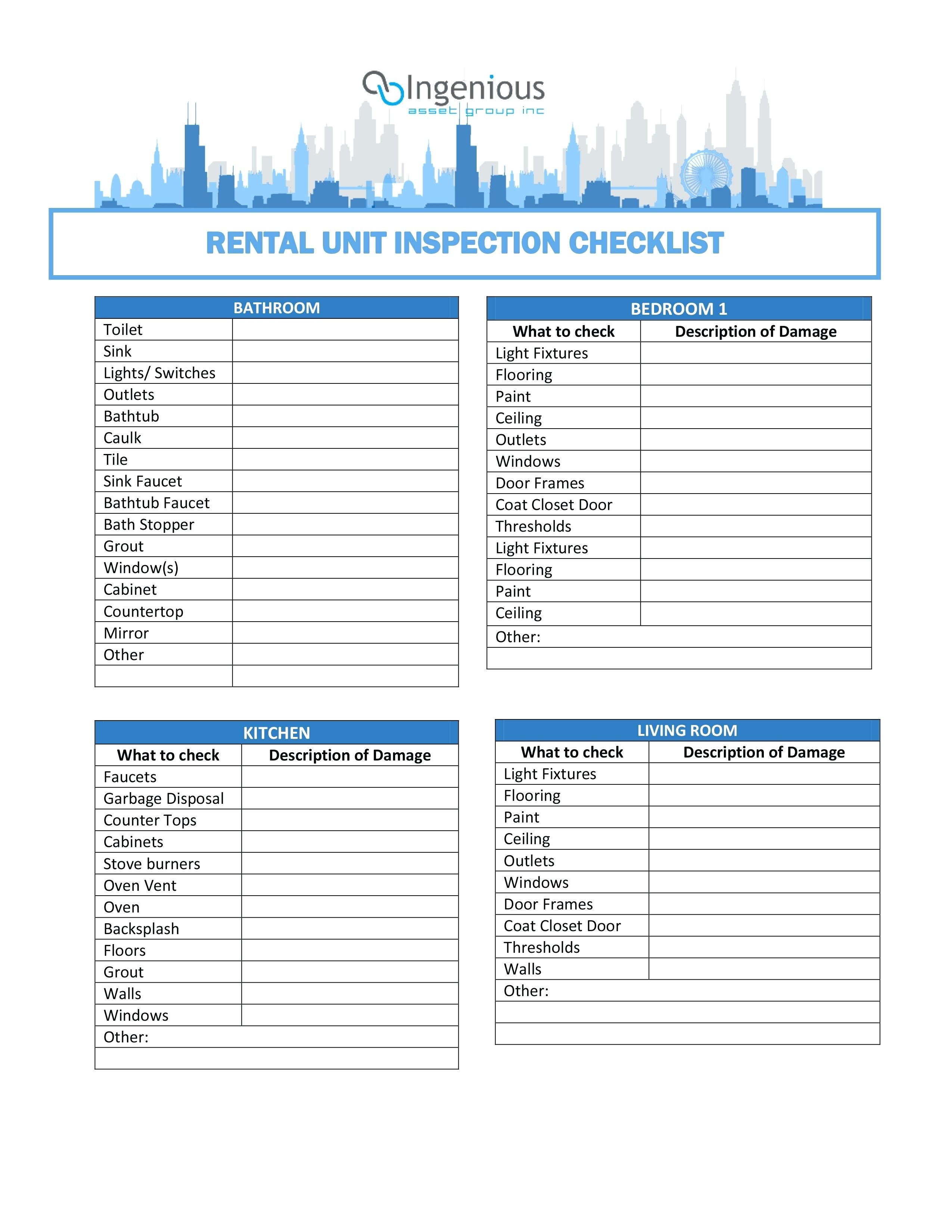 apartment walk through checklist template