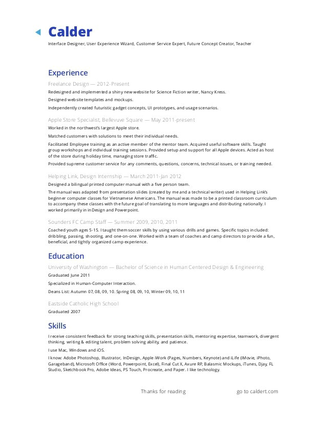 apple resume example