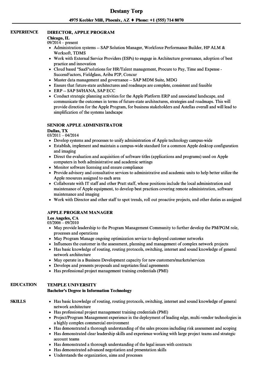 apple resume sample
