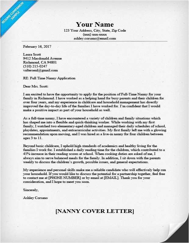 nanny cover letter sample