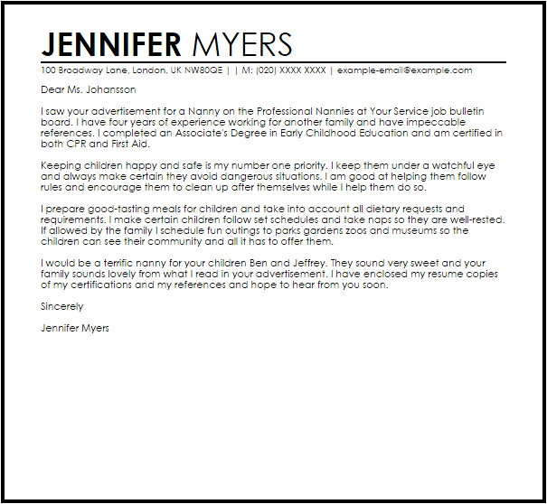 sample cover letter for a nanny position