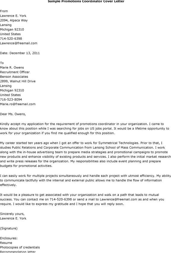 cover letter examples for promotion