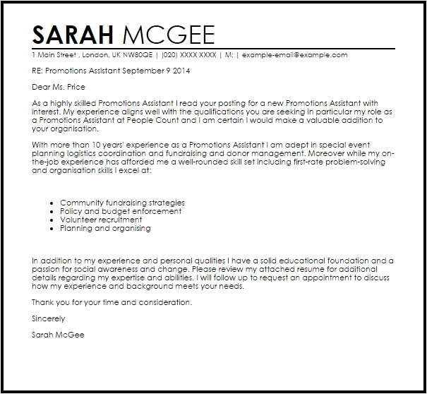 cover letter promotion