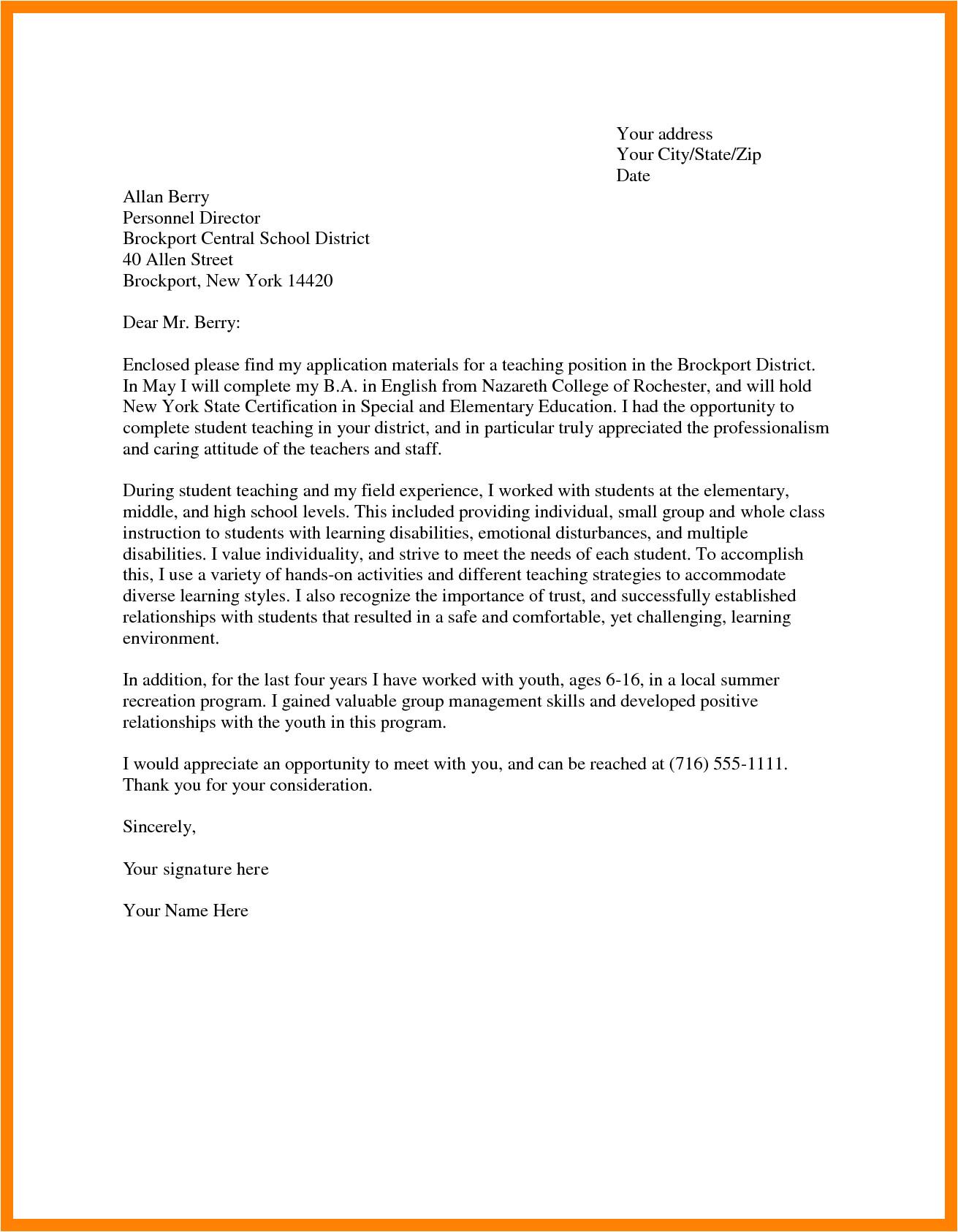 6 sample of application letter for teacher