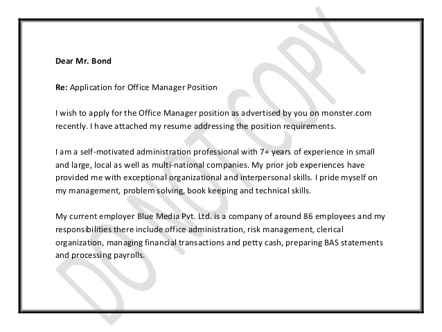 Applying for Management Position Cover Letter Office Manager Cover Letter
