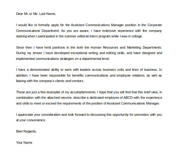 Applying for Promotion Cover Letter 19 Promotion Letter Templates Pdf Doc Free Premium