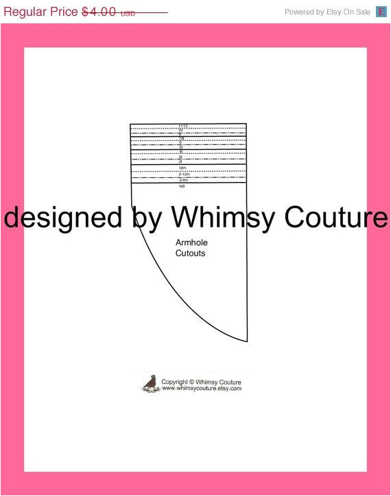 Armhole Template for Pillowcase Dress Whimsy Couture Pillowcase or Peasant Armhole Cutout