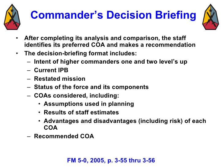 Army Briefing Template Military Decision Making Process Mar 08 3