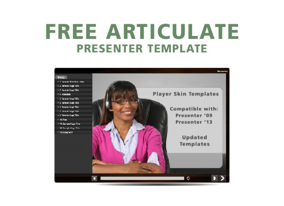 free articulate presenter template player skin