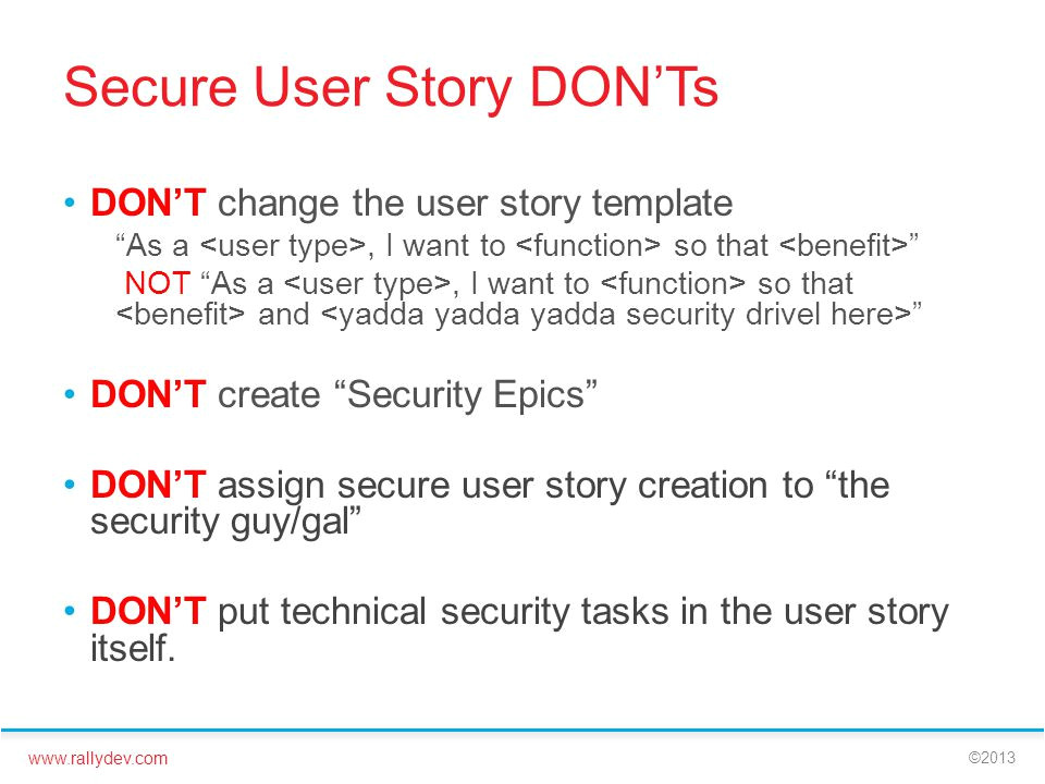As A User I Want User Story Template Reduce Security Risk In Your Development Ppt Video