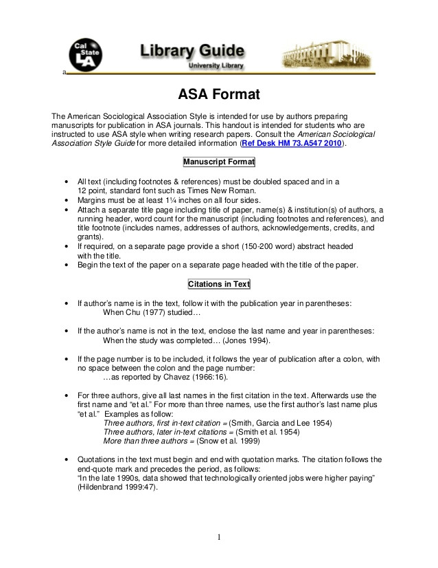 asa format by cal state