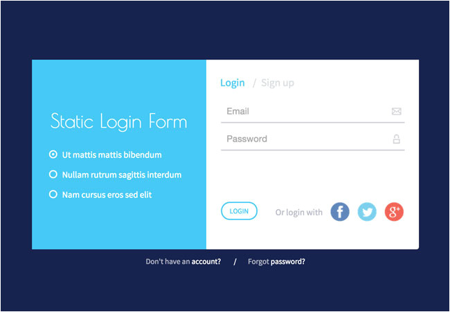 responsive static login form html5 template