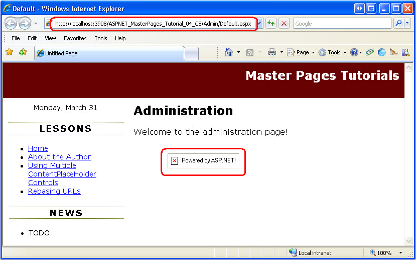asp net master page templates download