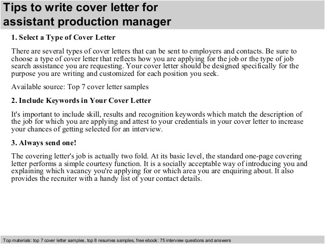 Associate Producer Cover Letter assistant Production Manager Cover Letter