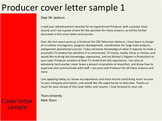 Associate Producer Cover Letter associate Producer Cover Letter Templates
