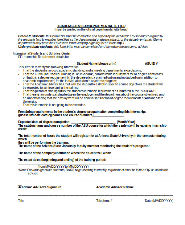 Asu Cover Letter Academic Application Letters 8 Sample Example
