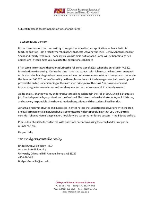 johanna horne undergrad ta letter of recommendation 47123598